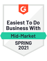 G2 Easiest To Do Business With Mid-Market Spring 2021 Award