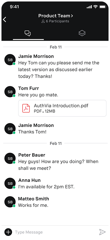 Screen grab of the Team Messaging app on a mobile screen