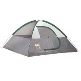 Grey 4 person dome tent with forest green trimming on the outside