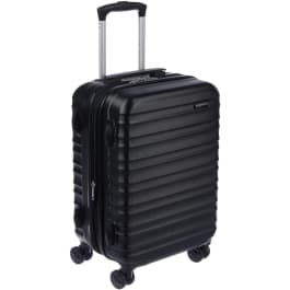 Small, black hardshell 4 wheels suitcase