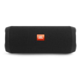 Black JBL portable speaker with the red JBL logo on the side