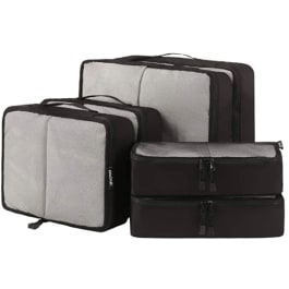 Grey and black travel cubes for holding travel items