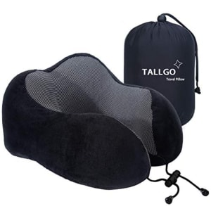 Black memory foam small travel pillow